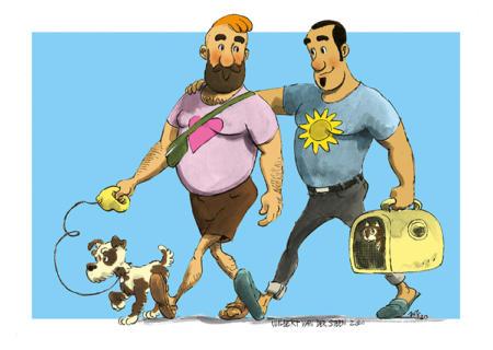 Salto & Bubba, taking a stroll